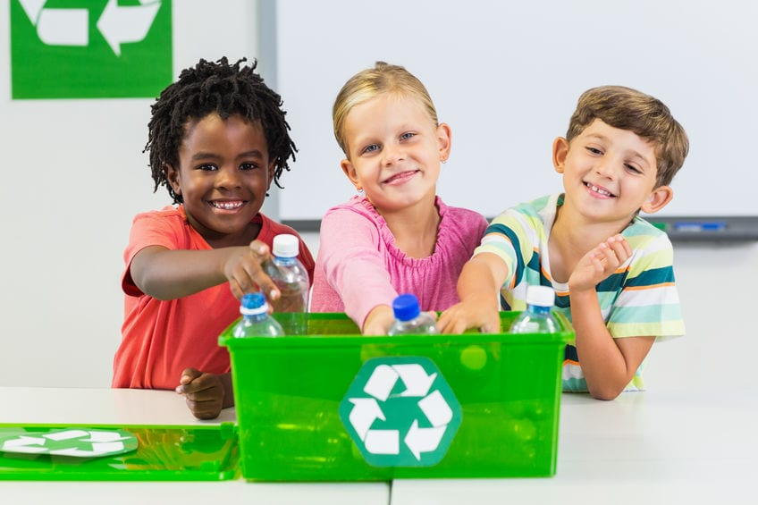 School pupils recycle plastics together