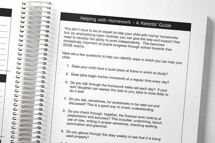 a spread of example pages for parents in a student planner
