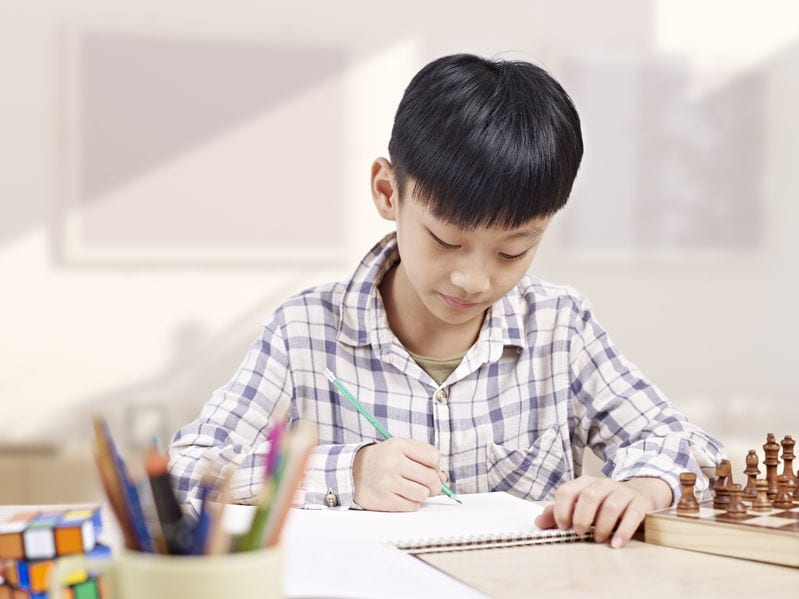 A schoolchild diligently completes his homework