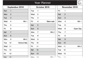 School planner week reference page