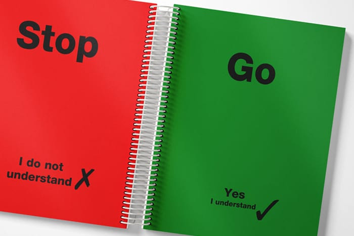 graphic of stop and go cards inside a student planner
