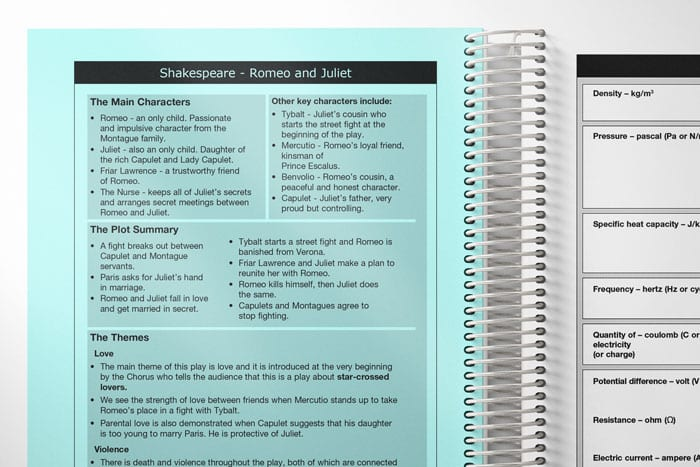 a spread of example subject specific in a student planner