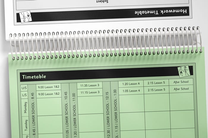Example spread of timetable pages for pupil planner