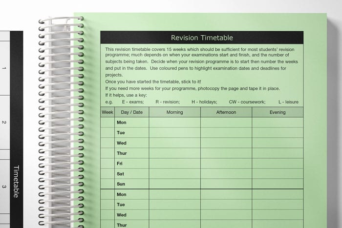 a spread of example timetable layouts in a student planner