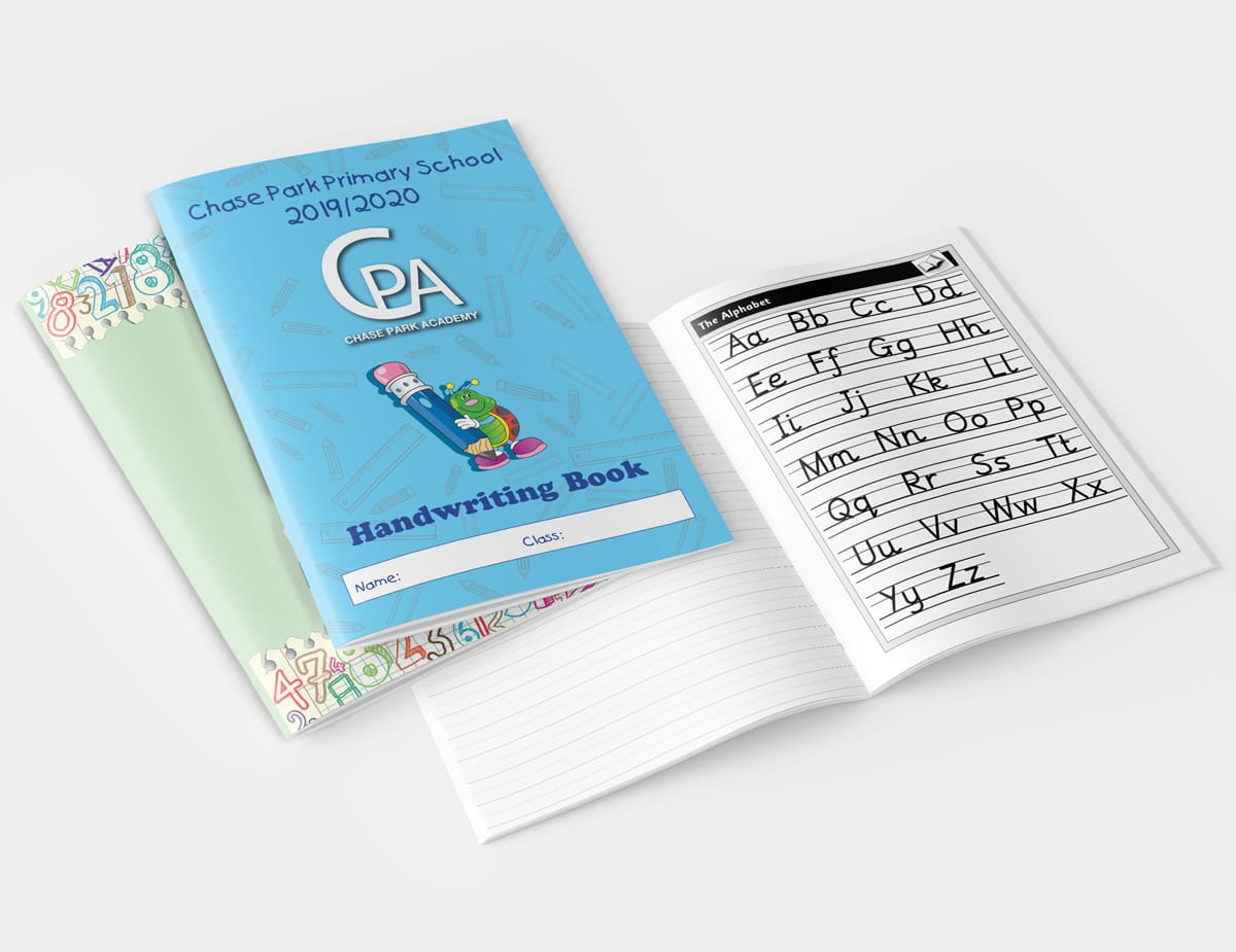 covers and spreads of primary customised exercise books