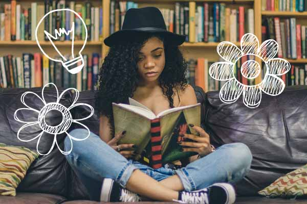 girl reading yearbook fun page ideas