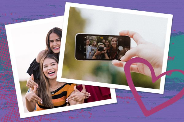 Photos of taking yearbook photos on smartphone